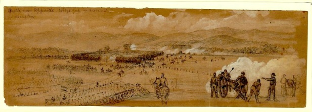 Alfred Waud's drawing of the battle at Upperville on June 21, 1863. The battle occurred as Lee's army moved north toward Gettysburg.