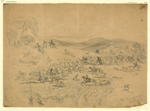 Edwin Forbes drawing of the cavalry battle at Aldie, Virginia, on June 24, 1863.