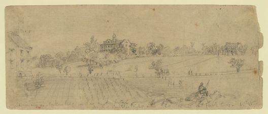Alfred Waud's drawing of the seminary near Gettysburg.