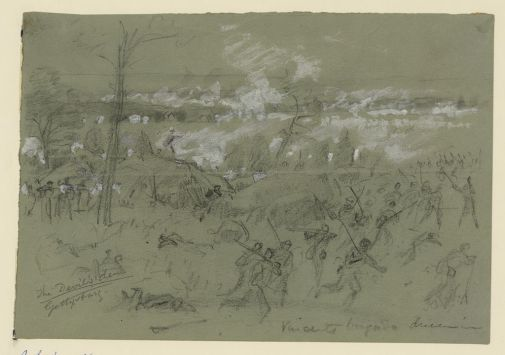 The fierce fighting around Devil's Den, depicted by Alfred Waud.