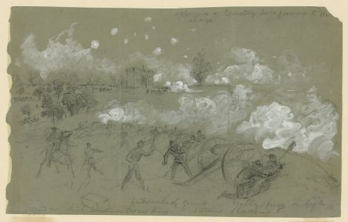 Alfred Waud's on-site drawing of Pickett's Charge on the third day of the Battle of Gettysburg. Waud was one of two artists who were present at the battle. From Battlelines: Gettysburg.